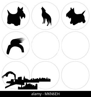 Set Of 9 simple editable icons such as richmond sky, donald trump hair, scottie dog, dayton howling wolf, edinburgh free nashville edmonton can be use - Stock Photo