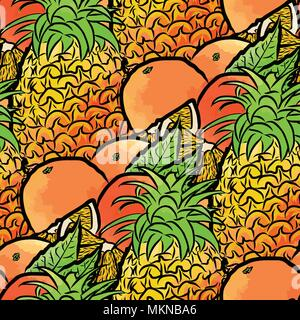 vector seamless pattern of pineapples and oranges. Hand-drawn and colored illustration - Stock Photo