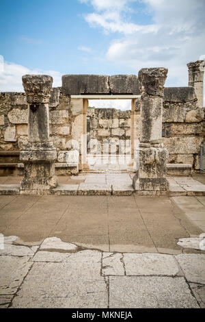 The ruins of White Synagogue in Capernaum on the coast of the sea of Galilea, where Jesus lived and taught. - Stock Photo