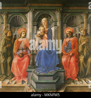 Madonna Enthroned with Four Saints - Stock Photo