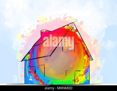 colorful detached house drawing concept, hand-drawn vector illustration - Stock Photo