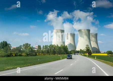 Nuclear power plant Temelin in Czech Republic. Europe. - Stock Photo