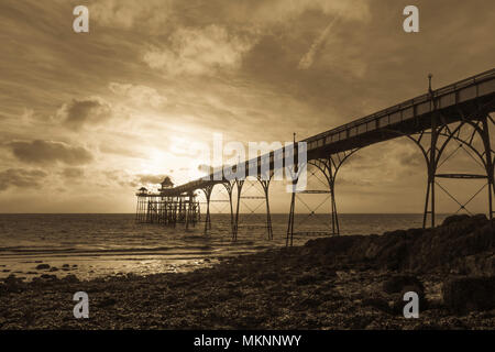 Clevedon Pier at Sunset Black and White - Stock Photo