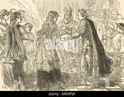 The marriage of King Henry I of England and Matilda of Scotland, 1100 - Stock Photo