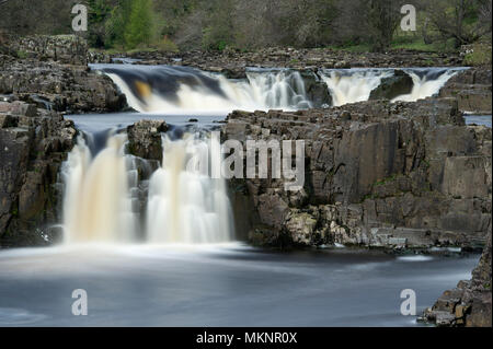 A long exposure image of Low Force Waterfalls in Teesdale, North Pennines AONB - Stock Photo