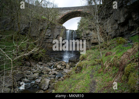 A long exposure image of Ashgill Force Waterfall in Teesdale, North Pennines AONB - Stock Photo