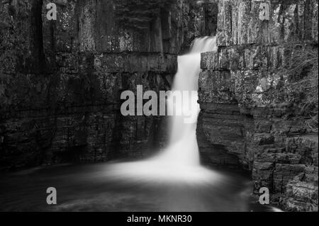A long exposure image of High Force Waterfall in Teesdale, North Pennines AONB - Stock Photo