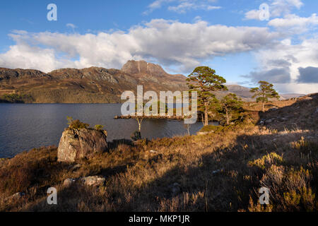 Scottish Highlands lochs  and mountains Loch Maree and Slioch - Stock Photo