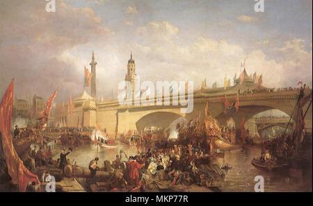 Opening of New London Bridge 1831 - Stock Photo