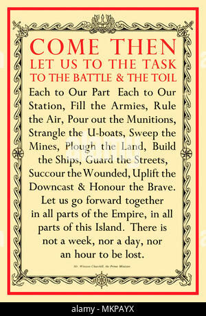 "CHURCHILL SPEECH 1940 Vintage WW2 Propaganda Press Poster UK 1940 Winston Churchill uplifting nationalistic 'War Effort' speech to the nation  ""Come Then Let Us To The Task To The Battle & The Toil.."".  Mr. Winston Churchill at Manchester, 29th January 1940 World War II - Stock Photo"