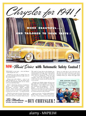 1941 American Chrysler Yellow Airflow 4 door Body Fluid Drive Cars - original press advertisement Manufactured in the year of the start to America's World War II - Stock Photo