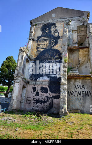 Rijeka, Croatia. A wall murall depicting titled 'there is time'  in the Old Town. Rijeka, European Capital of Culture 2020, has its mural, and they are really great. - Stock Photo