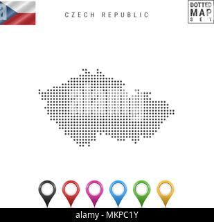 Vector Dotted Map of Czech Republic. Simple Silhouette of Czech Republic. The National Flag of Czech Republic. Map Pins - Stock Photo