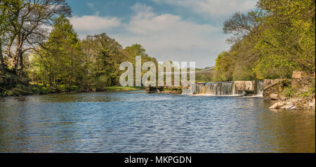 Panoramic view of the Grade II listed, Scheduled Ancient Monument of Whorlton Bridge over the river Tees, connecting Yorkshire and County Durham - Stock Photo