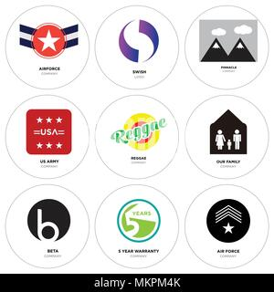 Set Of 9 simple editable icons such as air force, 5 year warranty, beta, our family, reggae, us army, pinnacle, Gradient Purple swish, Airforce, can b - Stock Photo