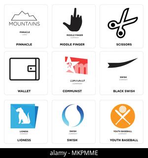 Set Of 9 simple editable icons such as youth baseball, swish, lioness, Black communist, Wallet, Scissors, middle finger, pinnacle, can be used for mob - Stock Photo