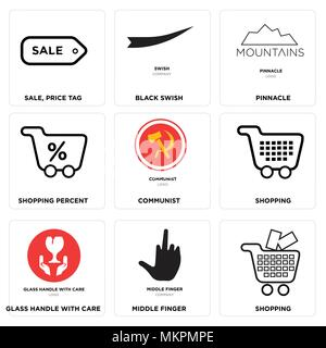 Set Of 9 simple editable icons such as Shopping, middle finger, glass handle with care, communist, Shopping percent, pinnacle, Black swish, Sale, pric - Stock Photo