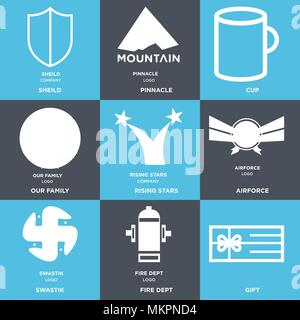 Set Of 9 simple editable icons such as Gift, fire dept, swastik, Airforce, rising stars, our family, Cup, pinnacle, sheild, can be used for mobile, we - Stock Photo