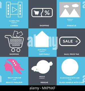 Set Of 9 simple editable icons such as glass handle with care, reggae, beauty parlour, Sale, price tag, our family, Shopping, pinnacle, camera, can be - Stock Photo