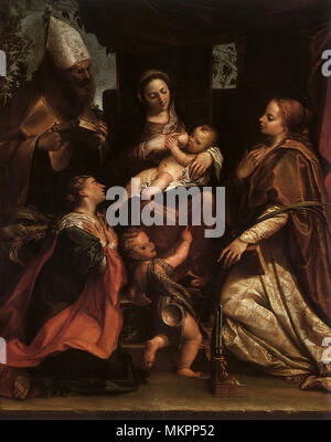 The Virgin and Child with Saints - Stock Photo