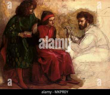 Giotto Painting in the Portrait of Dante - Stock Photo