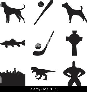 Set Of 9 simple editable icons such as superman, sucker fish, , can be used for mobile, web - Stock Photo