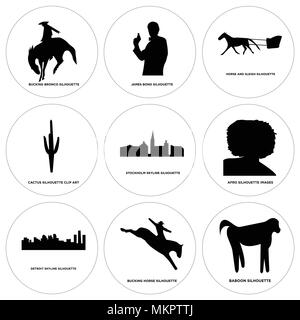 Set Of 9 simple editable icons such as baboon, bucking horse, detroit sky, afro, stockholm cactus, horse and sleigh, james bond, bronco, can be used f - Stock Photo