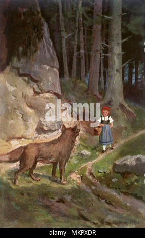 Little Red Riding Hood meets the Big Bad Wolf - Stock Photo