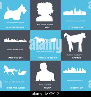 Set Of 9 simple editable icons such as houston sky, trump, horse and sleigh, baboon, san diego stockholm afro, scottish terrier, can be used for mobil - Stock Photo