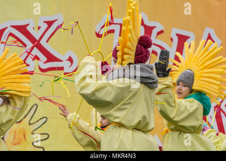 TIRASPOL, MOLDOVA - FEBRUARY 18, 2018: Children's ensemble performs at the Maslenitsa festival. The slavonic pagan holiday Maslenitsa (Shrovetide) - a - Stock Photo