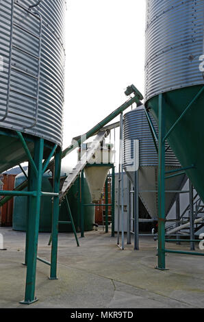 farm silos store feed for dairy cows - Stock Photo