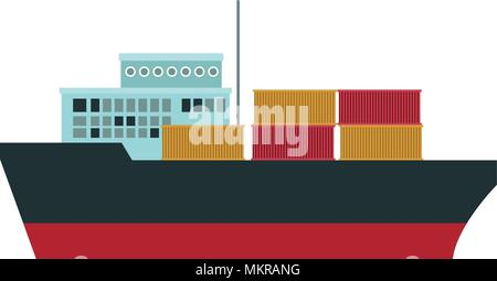 Freigther ship with containers - Stock Photo