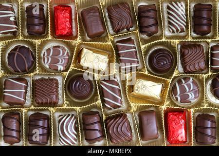 assortment of chocolate pralines in box - Stock Photo
