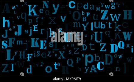 random letters english alphabet background design on black - Stock Photo
