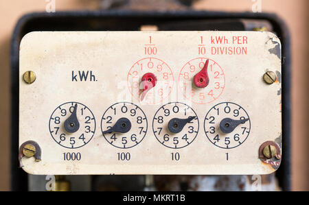 Dials on and old electricity meter - Stock Photo