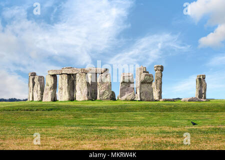 Amesbury, Wiltshire, United Kingdom - August 14, 2016: Stonehenge prehistoric megalith monument arranged in circle. - Stock Photo