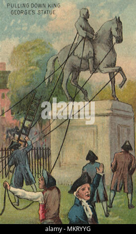 Pulling Down King George Statue - Stock Photo