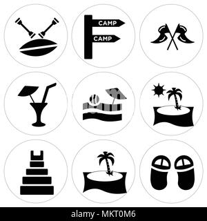 Set Of 9 simple editable icons such as Flip flops, Palm tree, Teotihuacan, Beach Sunset, View, Limonade with Drop, Two Flags, Camp, Canoe, can be used - Stock Photo