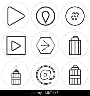 Set Of 9 simple editable icons such as Garbage, At, Youtube, Play, Hashtag, Pin, Play button, can be used for mobile, web - Stock Photo