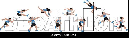 Decathlon athlete, isolated on white background with Lettering - Stock Photo