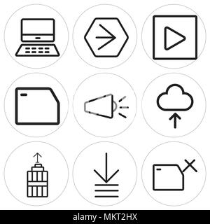 Set Of 9 simple editable icons such as Folder, Order, Garbage, Cloud, Volume, Play, Youtube, Mac, can be used for mobile, web - Stock Photo