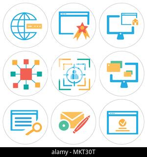 Set Of 9 simple editable icons such as Browser, Web de, Monitor, Target, Resize, Home, Internet, can be used for mobile, web - Stock Photo
