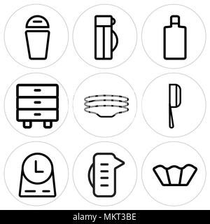 Set Of 9 simple editable icons such as Cupcake, Measuring cup, Clock, Cleaver, Dishes, Cabinet, Wine bottle, Thermo, Trash, can be used for mobile, we - Stock Photo