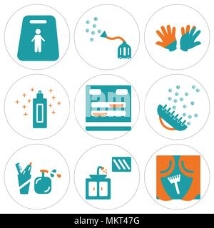 Set Of 9 simple editable icons such as Window, Sink, Toothbrush, Brush, Dishwasher, Cream, Gloves, Vacuum cleaner, Slippery, can be used for mobile, w - Stock Photo