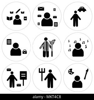 Set Of 9 simple editable icons such as Painter, Gardener, Postman, Professor, Cleaner, Doctor, Chauffeur, Writer, can be used for mobile, web - Stock Photo