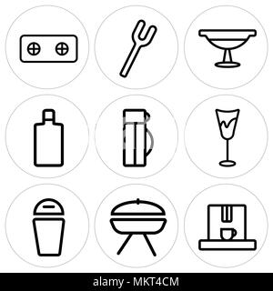Set Of 9 simple editable icons such as Coffee maker, Barbecue, Trash, Glass, Thermo, Wine bottle, Platter, Fork, Stove, can be used for mobile, web - Stock Photo