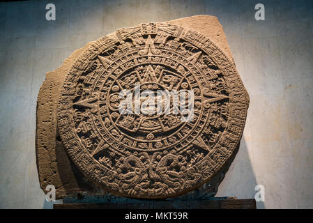 Aztec Room, Sun Stone or Aztec calendar stone, a late post-classic Mexica sculpture, National Museum of Anthropology, Museo Nacional de Antropología,  - Stock Photo