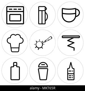 Set Of 9 simple editable icons such as Sauces, Trash, Wine bottle, Corkscrew, Pizza cutter, Chef hat, Beer, Thermo, Oven, can be used for mobile, web - Stock Photo