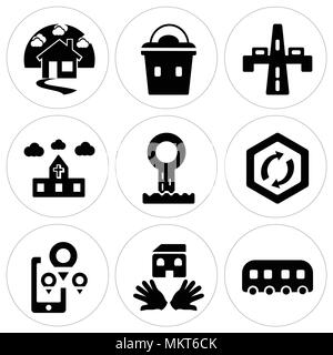Set Of 9 simple editable icons such as Tram, House, Map, Turn, Sewage, Church, Highway, Lunchbox, can be used for mobile, web - Stock Photo