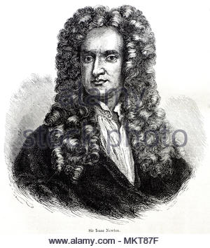 Sir Isaac Newton portrait 1642 – 1726/27, was an English mathematician, astronomer, theologian, author and physicist who is widely recognised as one of the most influential scientists of all time, and a key figure in the scientific revolution, antique illustration from circa 1880 - Stock Photo